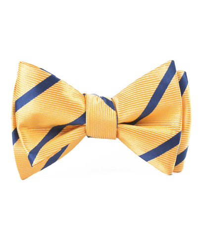 Yellow Pencil Stripe Self Bow Tie