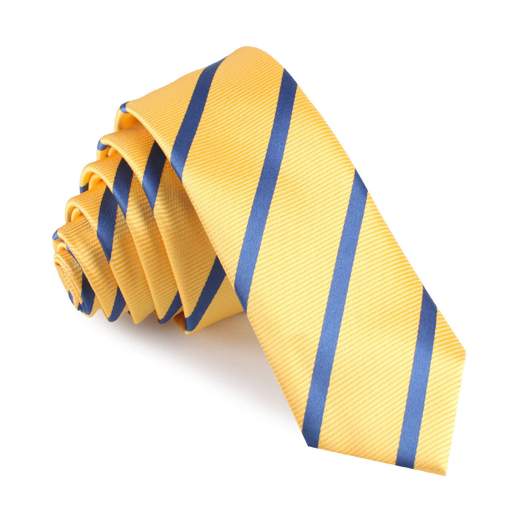 Yellow Pencil Stripe Skinny Tie