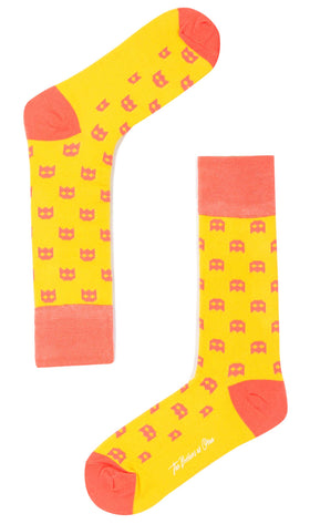 Yellow Pixel Ghost Socks
