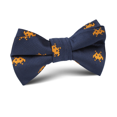 Yellow Pixel Invader Kids Bow Tie