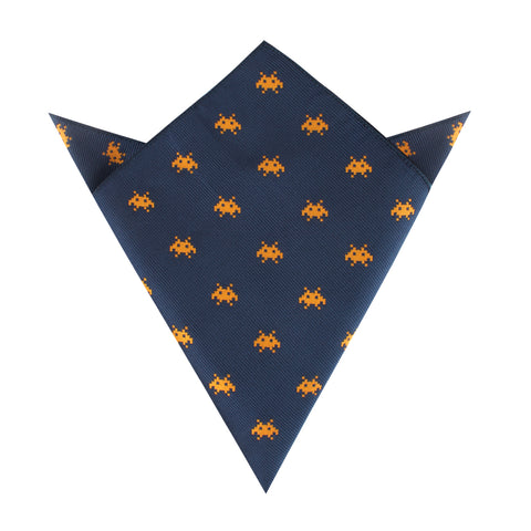 Yellow Pixel Invader Pocket Square