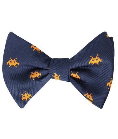 Yellow Pixel Invader Self Bow Tie