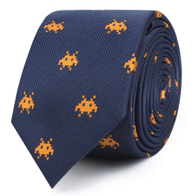Yellow Pixel Invader Skinny Tie
