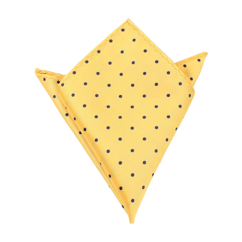 Yellow Pocket Square with Navy Blue Polka Dots