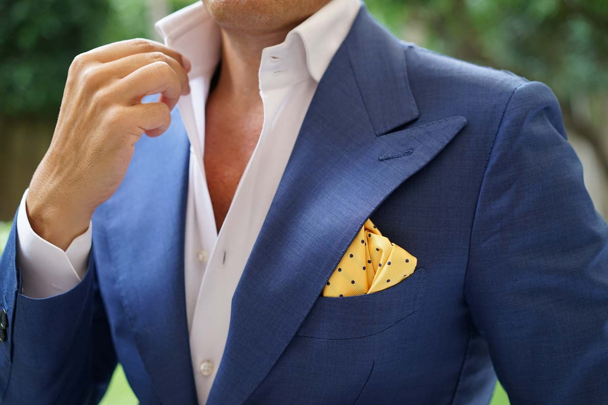 Yellow Pocket Square with Polka Dots