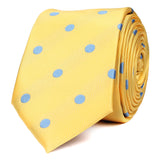 Yellow Skinny Tie with Light Blue Polka Dots OTAA roll