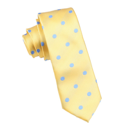 Yellow Skinny Tie with Light Blue Polka Dots