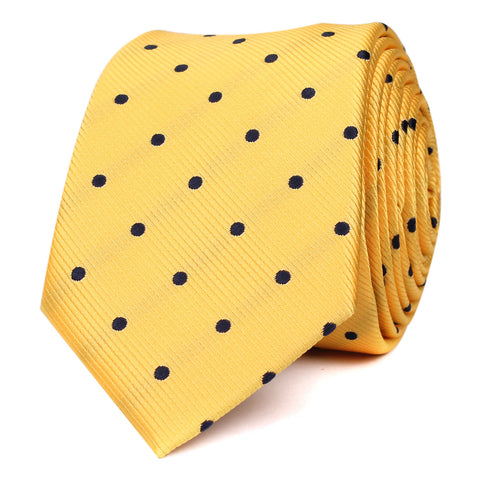 Yellow Skinny Tie with Navy Blue Polka Dots
