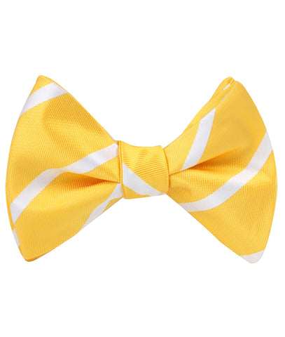 Yellow Striped Self Bow Tie