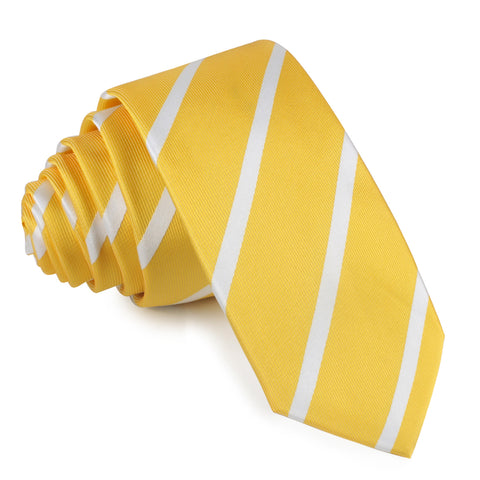 Yellow Striped Skinny Tie