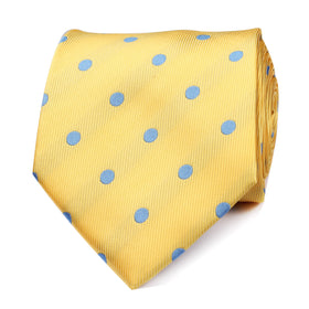 Yellow Tie with Light Blue Polka Dots
