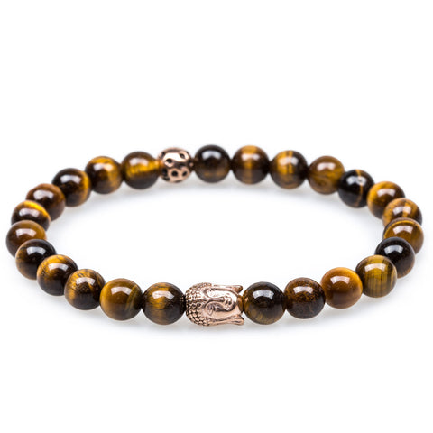 Yellow Tiger's Eye Rose Gold Buddha Bracelet