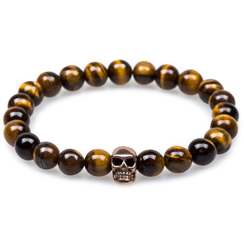 Yellow Tiger's Eye Rose Gold Skull Bracelet