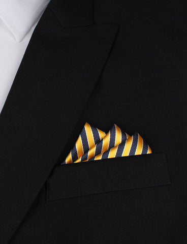 Yellow and Navy Blue Diagonal - Pocket Square