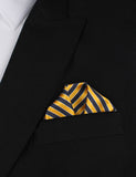 Yellow and Navy Blue Diagonal - Winged Puff Pocket Square Fold