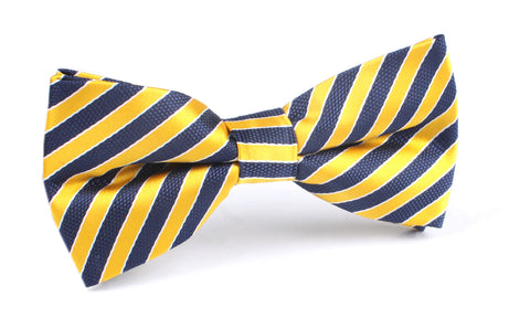 Yellow and Navy Blue Diagonal - Bow Tie