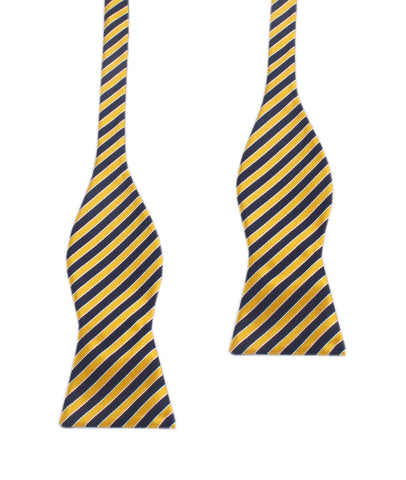 Yellow and Navy Blue Diagonal - Bow Tie (Untied)