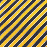 Yellow and Navy Blue Diagonal Fabric Pocket Square X145