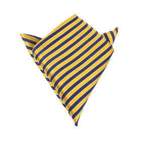Yellow and Navy Blue Diagonal Pocket Square