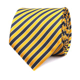 Yellow and Navy Blue Diagonal Tie Front View