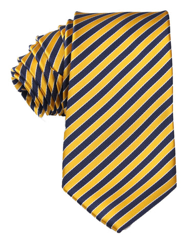 Yellow and Navy Blue Diagonal Tie