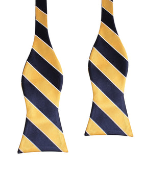 Yellow and Navy Blue Striped Bow Tie Untied