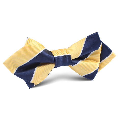 Yellow and Navy Blue Striped Diamond Bow Tie