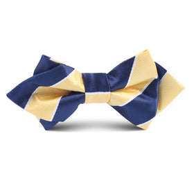 Yellow and Navy Blue Striped Kids Diamond Bow Tie