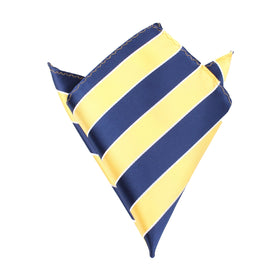 Yellow and Navy Blue Striped Pocket Square
