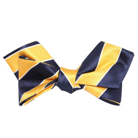 Yellow and Navy Blue Striped Self Tie Diamond Tip Bow Tie