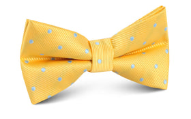 Yellow on Blue Pin Dots Bow Tie