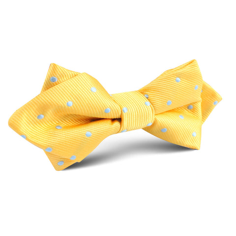 Yellow on Blue Pin Dots Diamond Bow Tie