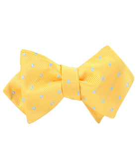 Yellow on Blue Pin Dots Diamond Self Bow Tie