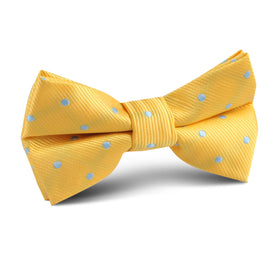 Yellow on Blue Pin Dots Kids Bow Tie
