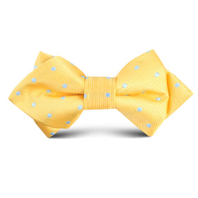 Yellow on Blue Pin Dots Kids Diamond Bow Tie