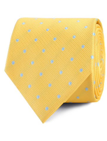 Yellow on Blue Pin Dots Tie