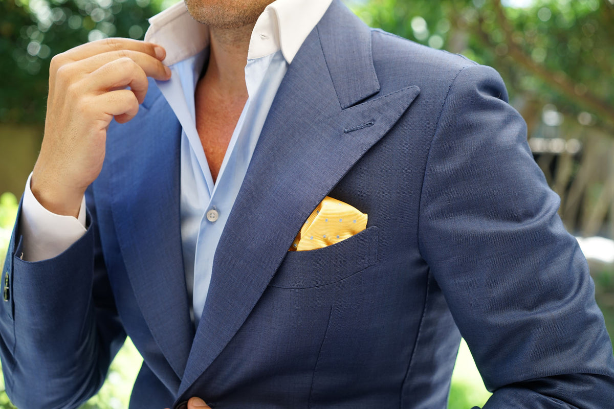 Yellow on Blue Pin Dots Pocket Square