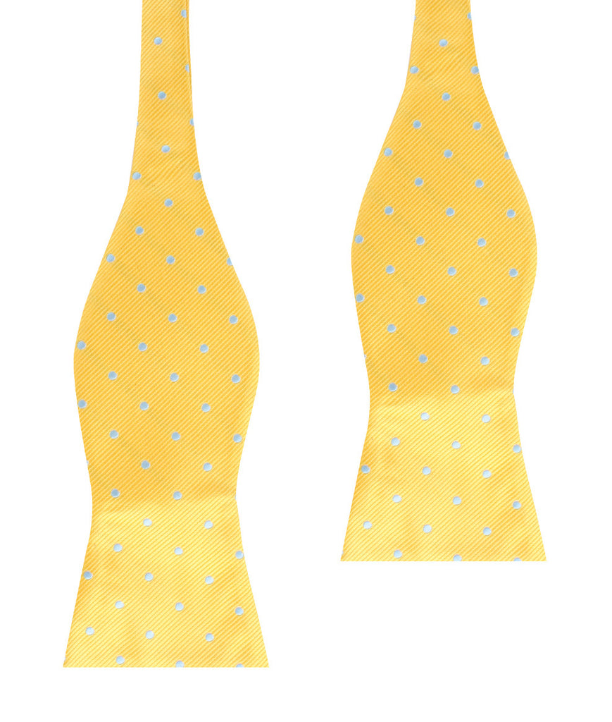 Yellow on Blue Pin Dots Self Bow Tie