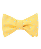 Yellow on Blue Pin Dots Self Tied Bowtie