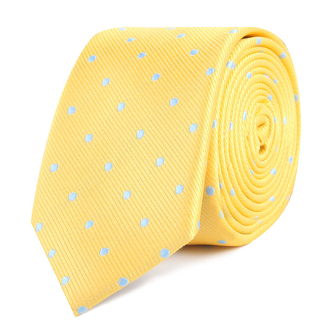 Yellow on Blue Pin Dots Skinny Tie