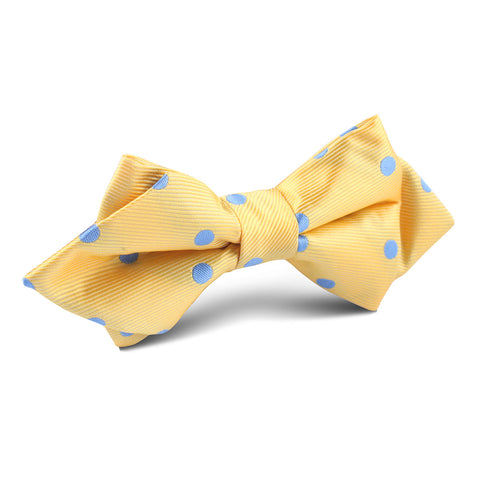 Yellow with Blue Polka Dots Diamond Bow Tie