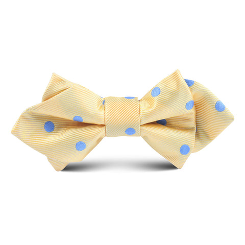 Yellow with Blue Polkadot Kids Diamond Bow Tie