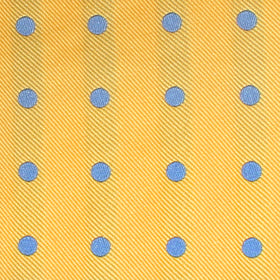 Yellow Pocket Square with Light Blue Polka Dots