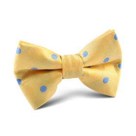 Yellow with Light Blue Polka Dots Kids Bow Tie