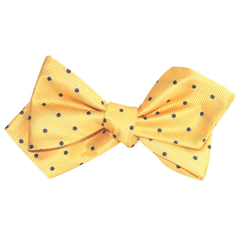 Yellow with Polka Dots Self Tie Diamond Tip Bow Tie