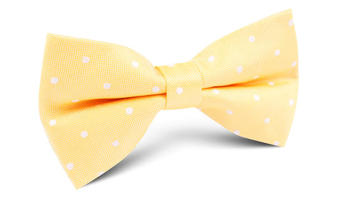 Yellow with White Polka Dots Bow Tie