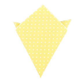 Yellow with White Polka Dots Cotton Pocket Square