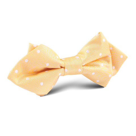 Yellow with White Polka Dots Diamond Bow Tie