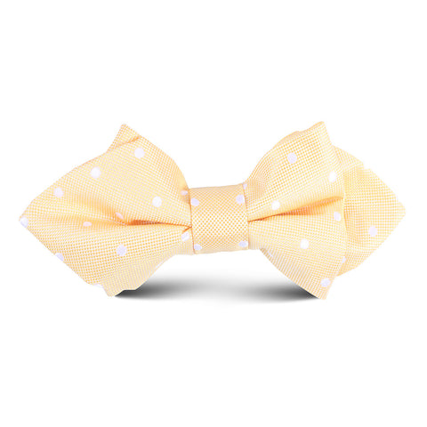 Yellow with White Polka Dots Kids Diamond Bow Tie