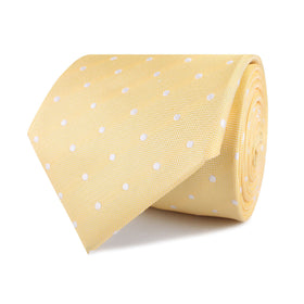 Yellow with White Polka Dots Necktie